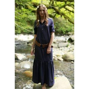 Shabby Apple Navy Ruffle Bottom Henley Maxi Dress